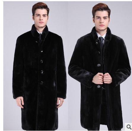 Male Balck Stand Collar Long Section Fur Jackets Casual Sngle Breasted Faux Mink Fur Thick Winter Fur Overcoats Large Size J1554