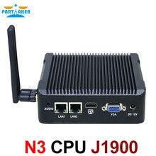 Безвентиляторный J1900 Мини-ПК 2 LAN с Intel Quad Core J1900 Процессор 2.0 ГГц