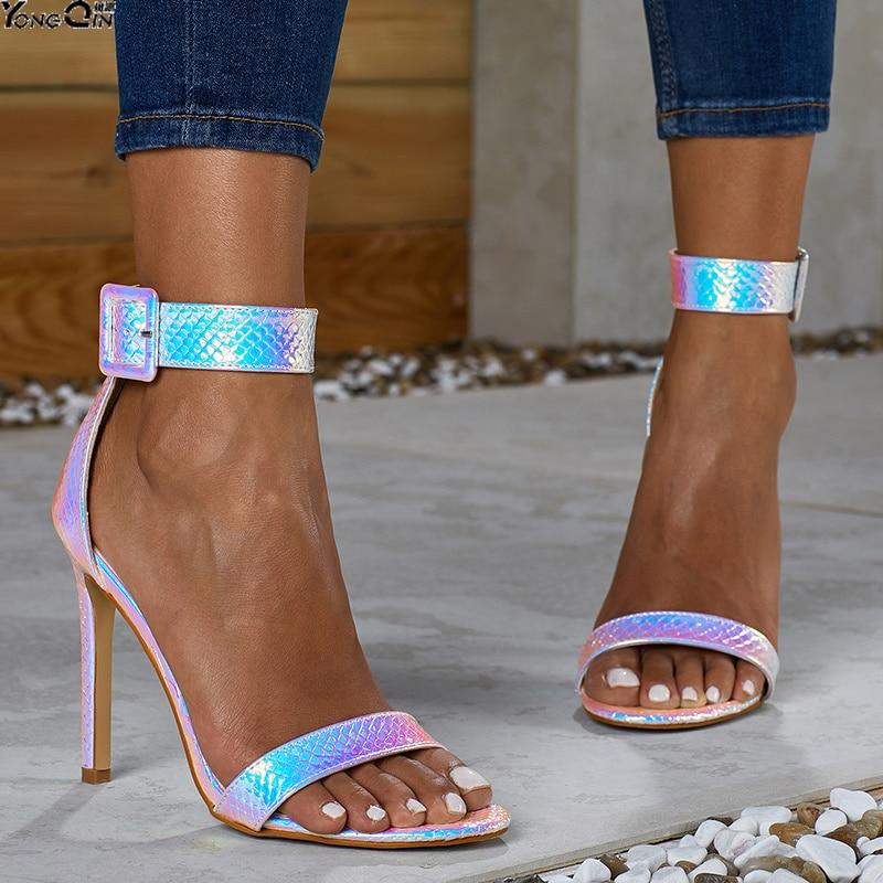 Summer Fashion Sexy  Snake Pattern Women Sandals  Buckle High Heel Women's Sandals