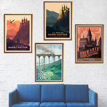 Harry Potter Poster Hogwarts Express Diagon Alley Hogsmeade Coated paper wall Movie Wall art Posters home decor(China)