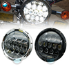 7 Round LED Headlamp 75W 5D H4 H L Beam With White DRL 7 LED Headlight