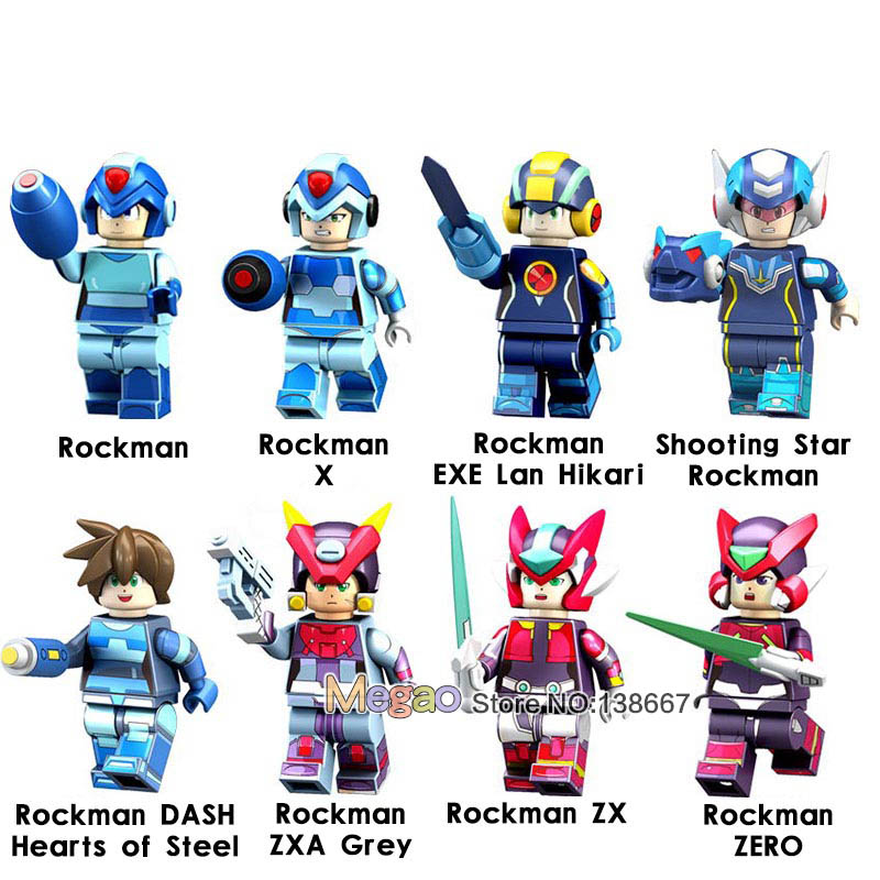8pcs/lot Super Heroes Mega Man Yuanzu Rockman Ax Light Hot Bucket Meteor Action Figures Building Blocks For Children Gift Toys High Quality Toys & Hobbies