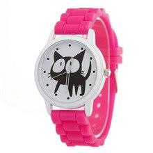 A099 женские Кварцевые наручные часы прекрасные Grils Часы силиконовой лентой большой циферблат Товары для кошек Reloj Mujer Relogio feminino Детский подарок