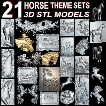 21pcs The Horse Theme 3d model STL relief for cnc STL format horse Relief Model STL Router  Engraver ArtCam