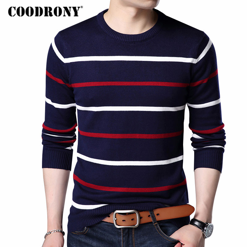 COODRONY O-Neck Pullover Lelaki Brand Clothing 2018 Autumn Winter New Arrival Cashmere Wool Sweater Men Casual Striped Tarik Lelaki 152