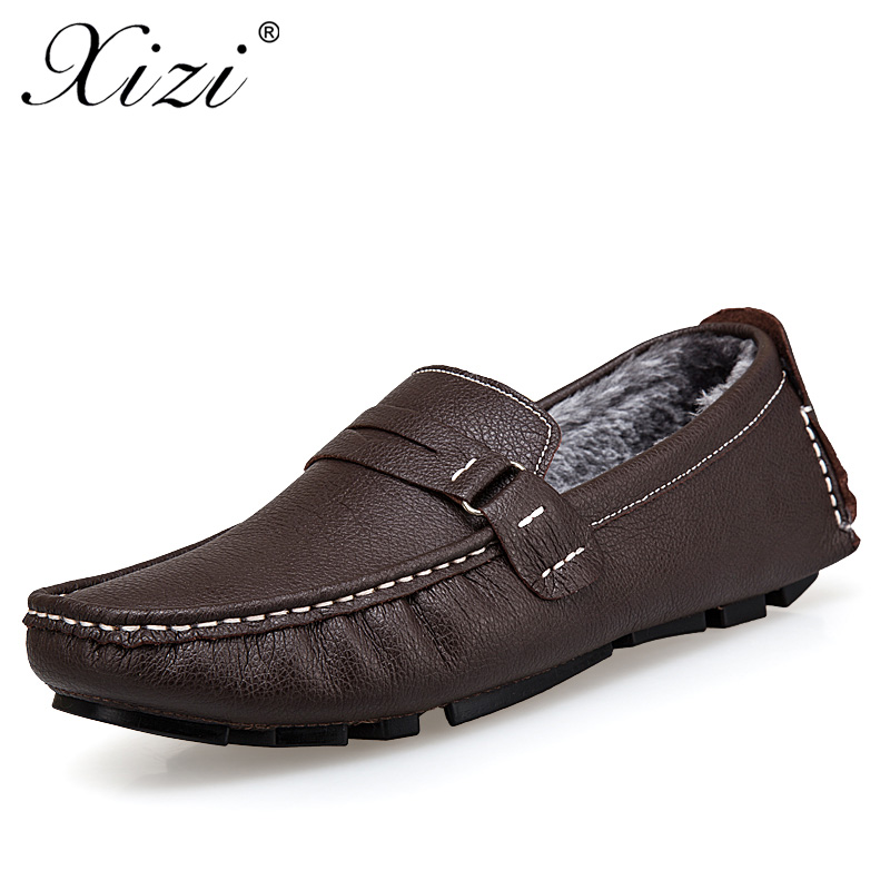 XIZI Men's Handmade Genuine leather Loafers Casual Shoes Male Soft Breathable Driving Flats Shoes Plus cotton Design boat shoes branded men s penny loafes casual men s full grain leather emboss crocodile boat shoes slip on breathable moccasin driving shoes