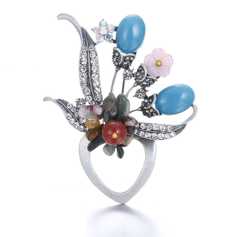 Latest Design Wholesale Vintage Safety Pin Brooches For Women Irregular Shape Flower Brooch Pendant Women Clothes Accessories