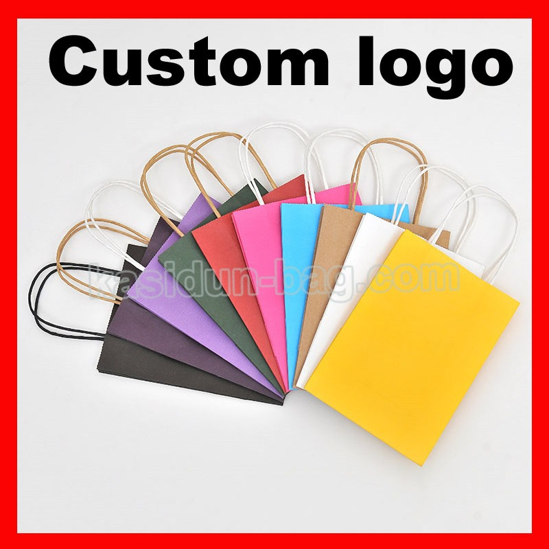 (1000pcs/lot) size W21xH27x11cm custom kraft paper bag with logo-in Shopping Bags from Luggage & Bags    1