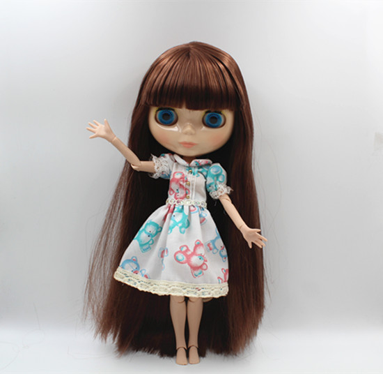 Blygirl Blyth doll Nude doll brown bangs straight hair 30cm joint body 19 joint DIY doll can change makeup stylish high waisted solid color pu leather skirt for women