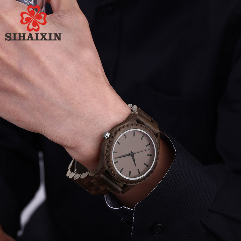SIHAIXIN Black Wood Watch For Men Simple New Arrival 2018 Wooden Watch Male Stylish Bamboo Wrist Man Clock Relogio Masculinos sihaixin men watch de wood top brand red calender special watches for male with unique design all wooden clock man relogio