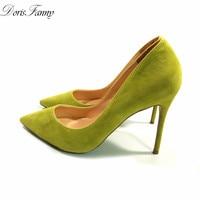 DorisFanny Lemon Yellow Stiletto Shoes Suede Leather 10cm Party Prom Wedding Women High Heels Size 12