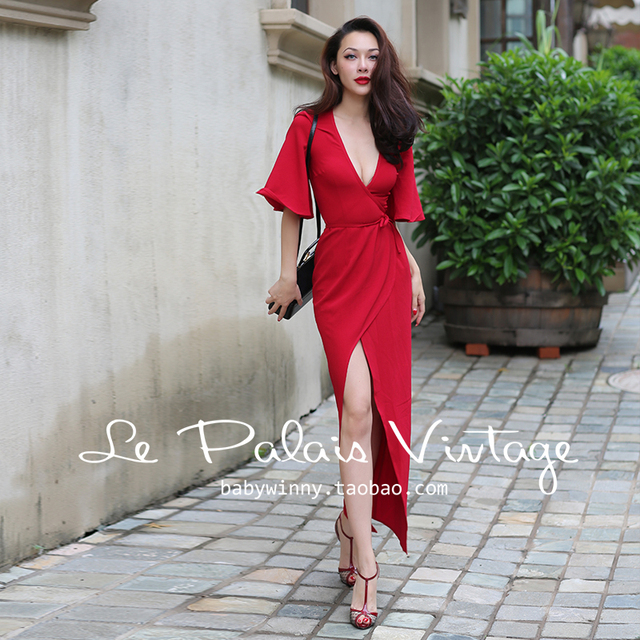 53ae497253ef Elegant Red Sexy V-neck Cute Chic Wrap Dress Casual Party Robe Gown Bodycon  Long Dress Vestidos Women Outfit
