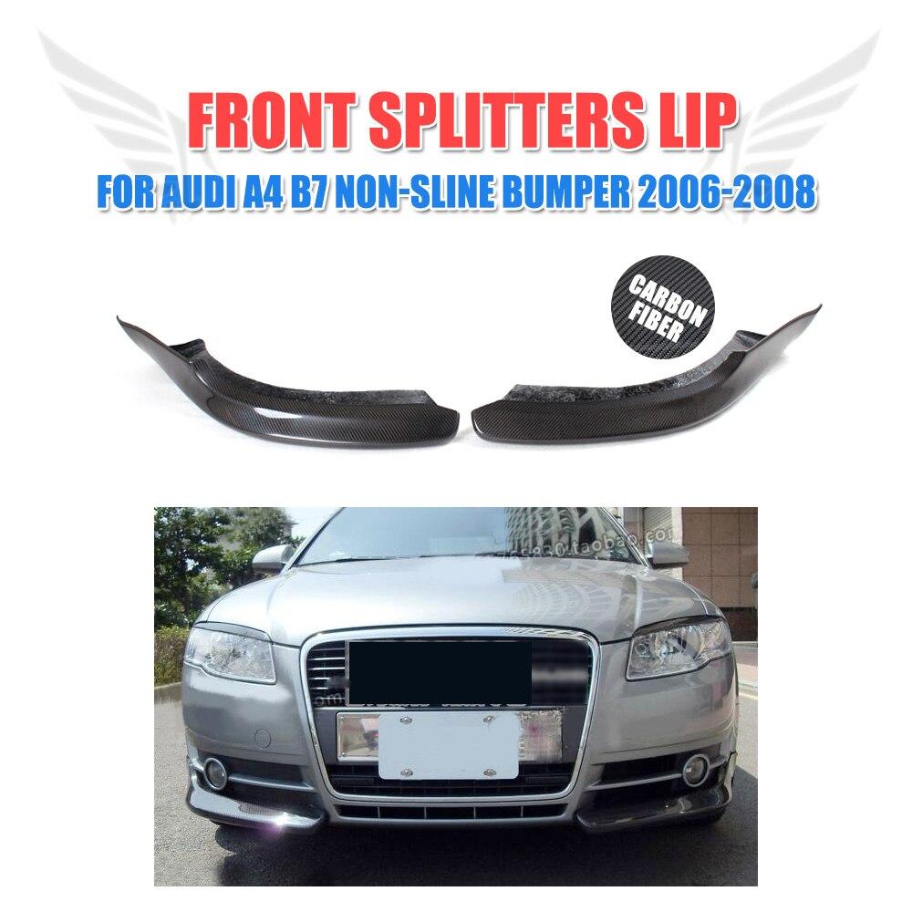 2 pièces/ensemble fibre de carbone avant Splitters lèvre rabats tabliers Spoiler pour Audi A4 B7 Non-Sline pare-chocs 2006-2008 voiture style