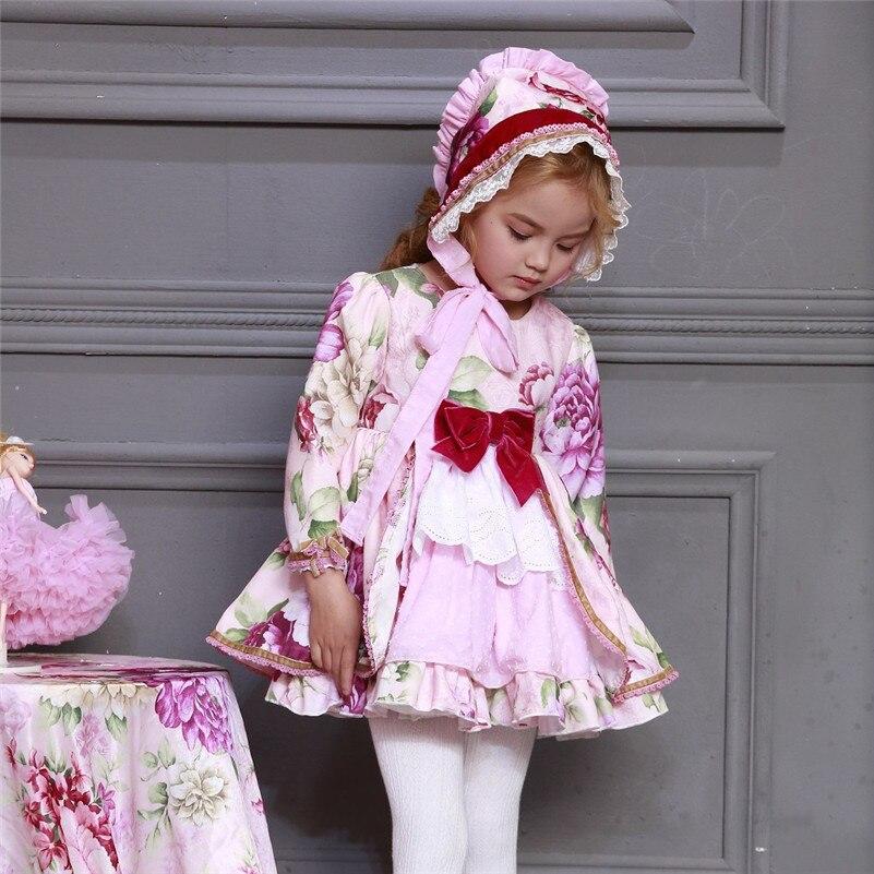 En gros enfants Boutique robe florale pour filles enfants espagnol Palace à manches longues robe ensembles bébé anniversaire mignon robe de bain G046 - 5