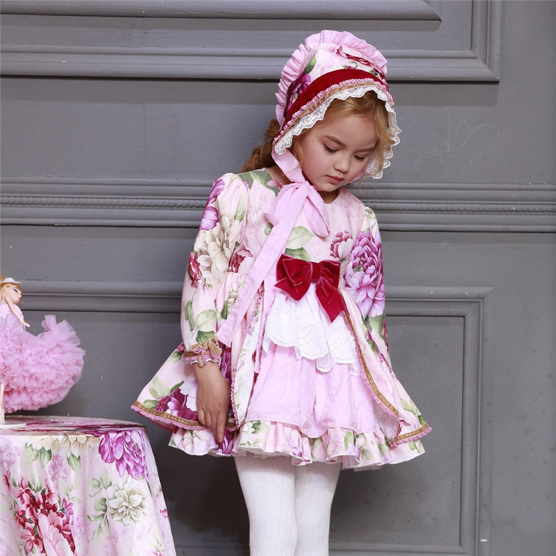 Wholesale Kids Boutique Floral Dress for Girls Children Spanish Palace Long Sleeve Gown Sets Baby Birthday Cute Gown Toddle G046 in Dresses from Mother Kids