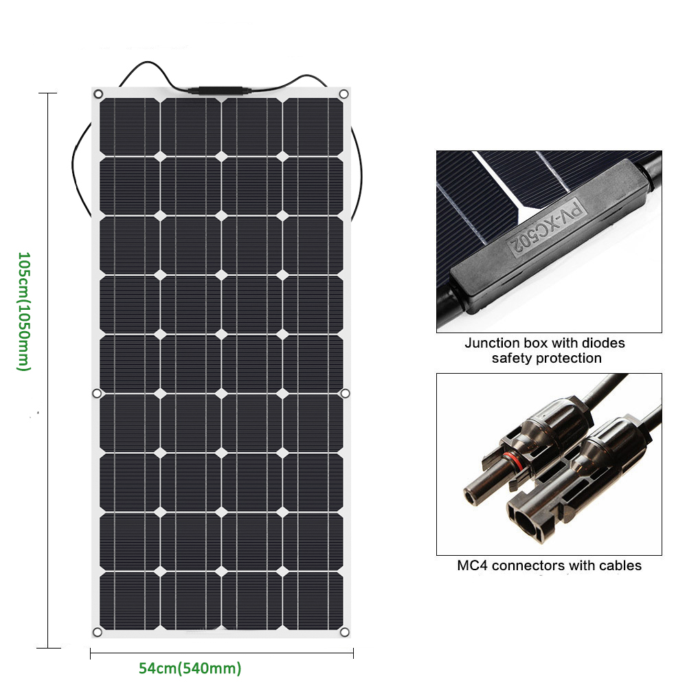 100w//200W//300W Flexible Solar Panel Solar Cell Module Photovoltaic for Boat Home