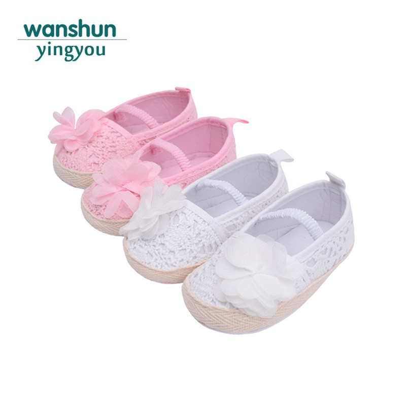 Baby girls crib shoes brand newborn footwear bebe Anti-slip Prewalker flower knitted Sli ...