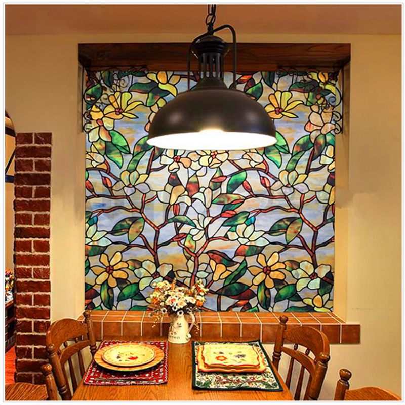 FANCY-FIX Morocco Stained Glass Window Film,Privacy Decorative Film,Static Cling Window Art Decal,Window Door Film Sticker Decor no frame canvas