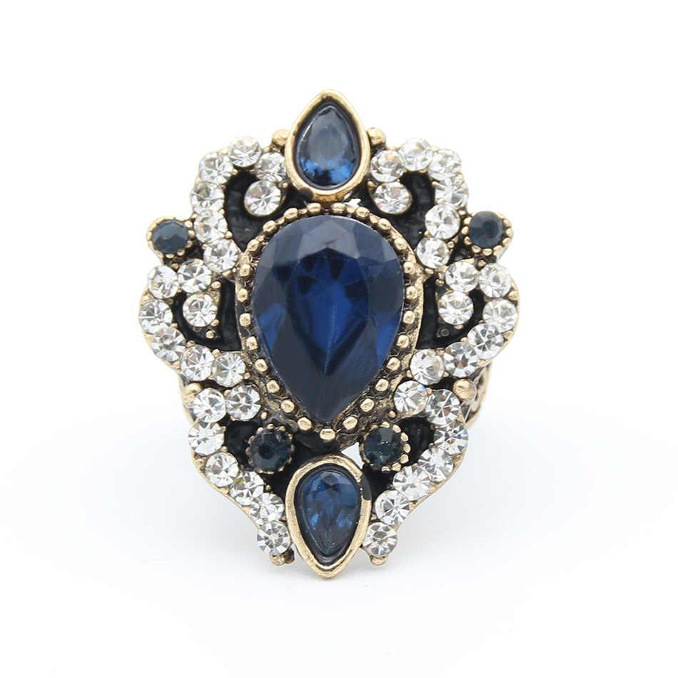 Mellow turecki kobiety kwiat żywica palec pierścień kryształ biżuteria El Anillo Antique złoty kolor algieria indie biżuteria retro dla nowożeńców