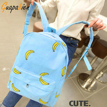 Guapabien 2016 Korean Banana Print Women Backpacks Girl Mustache Traveling Pratical School Bags Fashion Rucksack Canvas Backpack