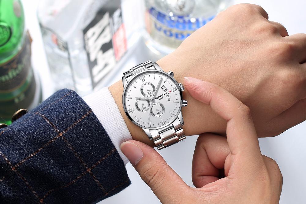 Relojes de hombre NIBOSI Relogio Masculino, relojes de pulsera de cuarzo de estilo informal de marca famosa de lujo para hombre, relojes de pulsera Saat 26
