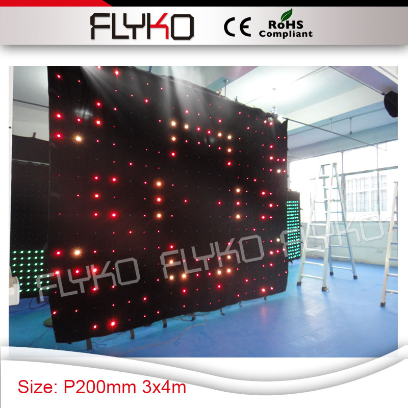best selling size 3m height x 4m length P200mm dj stage screen colorful led lights video curtain