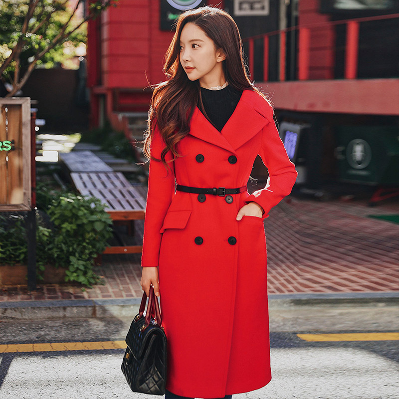 Dabuwawa Women Red Long Coat New Turn-down Collar Double Breasted Sash Jacket Slim Wool D18DLN022