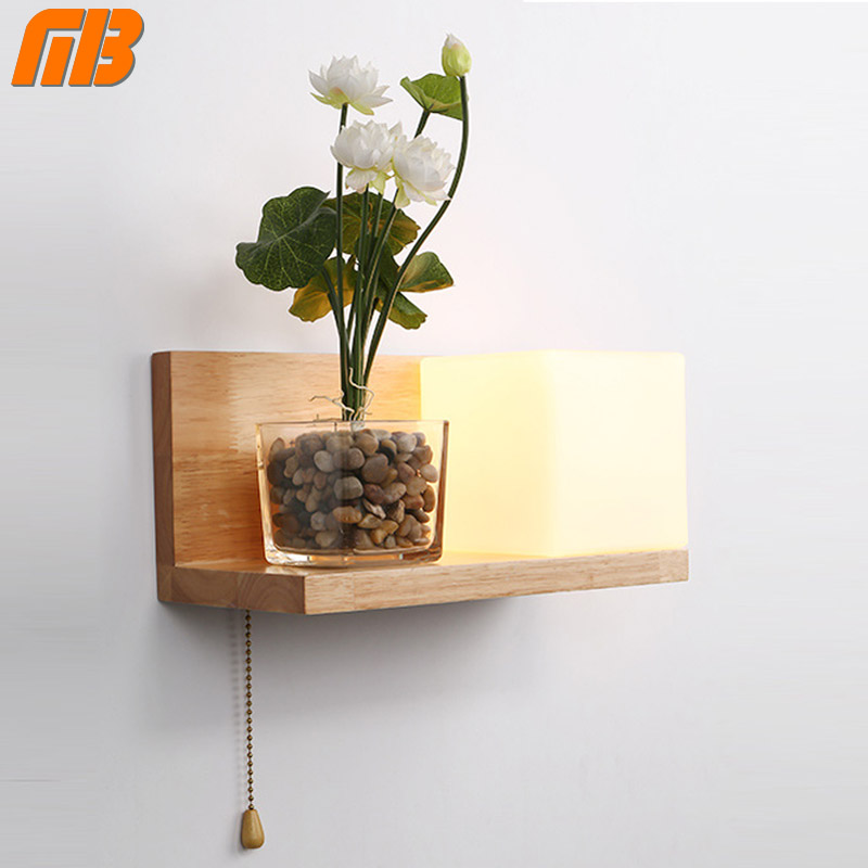 MingBen Wall Lamp Night Light Glass Wood E27 Socket Modern Vintage Style Used for Bedroom