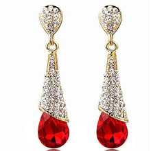 Grace Jun New Style Rhinestone Crystal Long Water Drop Clip on Earrings Non Piercing for Party Wedding Charm Earrings Good Gifts