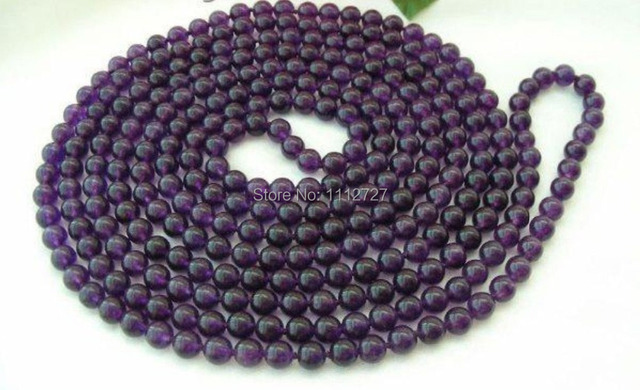 """hot free Shipping new Fashion jewelry 100"""" 8mm Round Purple Amethyst Beads Necklace Natural Stone BV04 Wholesale Price"""