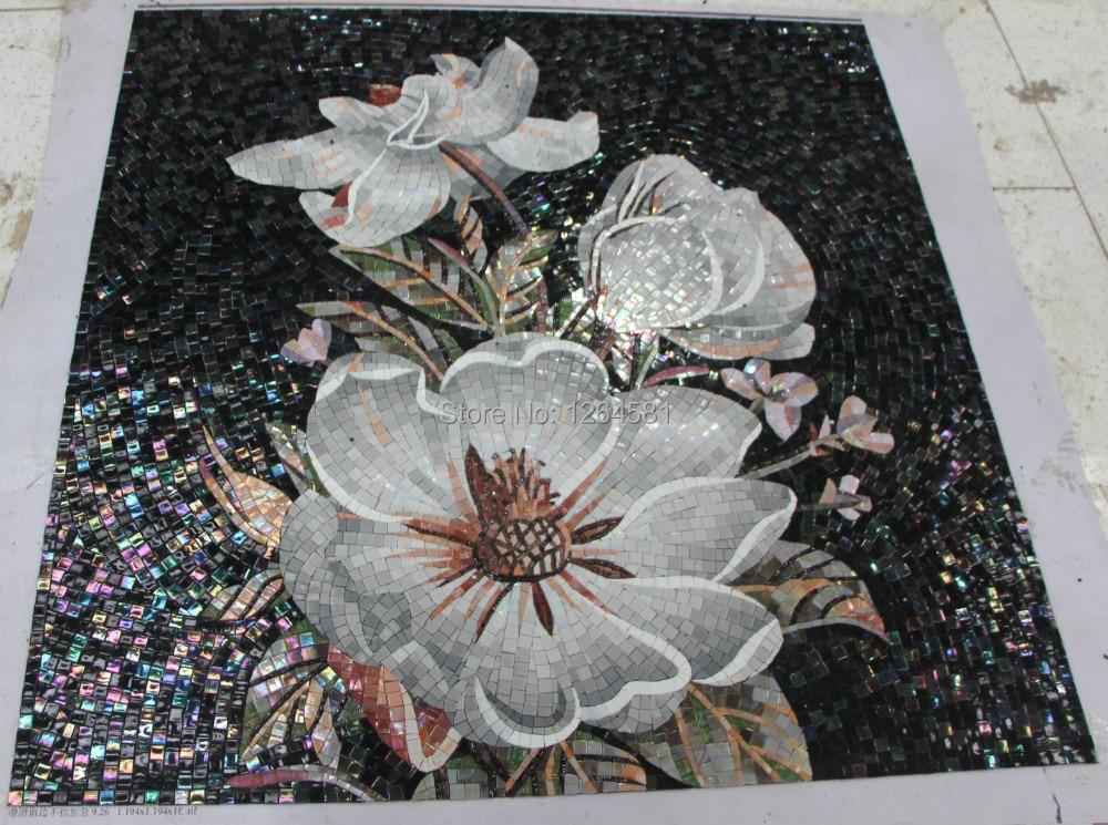 Factory sale Flowers Glass Mosaic Cutting backsplash Mosaic Tile ...