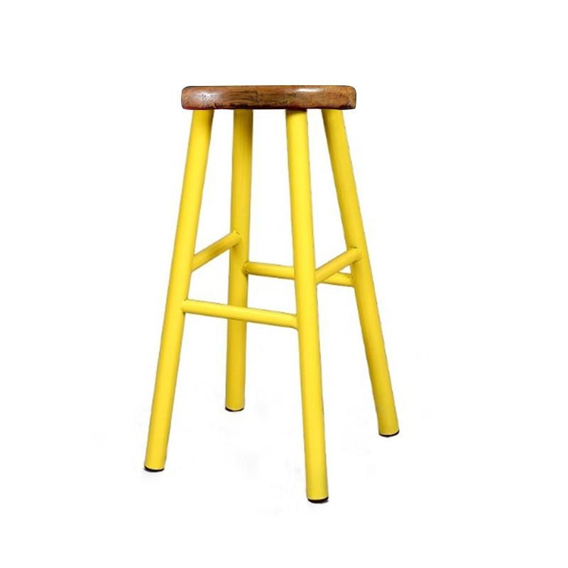 Strange Us 81 33 17 Off Retro Solid Wood Bar Chair Creative High Chair European Bar Stool Star Tea Shop Front Desk Stool Simple High Stool In Bar Chairs Squirreltailoven Fun Painted Chair Ideas Images Squirreltailovenorg