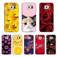 for Samsung Galaxy S6 DIY Pattern Phone Back Cover Cat Owl Butterfly Peony Rose Flower Case for Samsung Galaxy S6 G9200