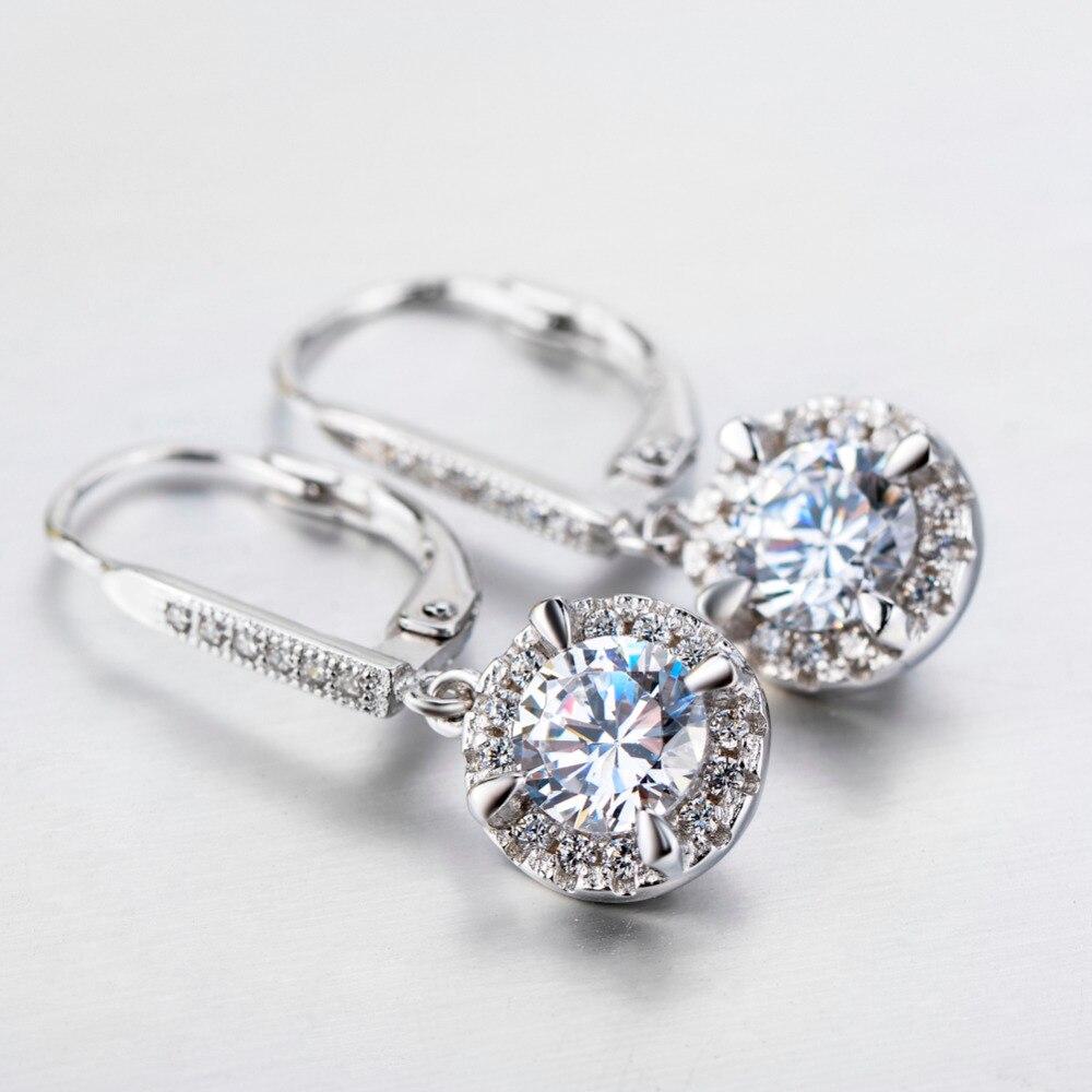 YFN Echt 925 Sterling Silber Kristall Ohrringe Modeschmuck Weiß - Modeschmuck - Foto 4