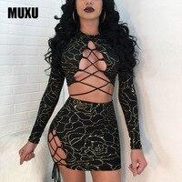 Fashion Sexy Vestidos Women Black Bandage Dress Clothing Clothes Women Patchwork Two Piece Set Dress Long