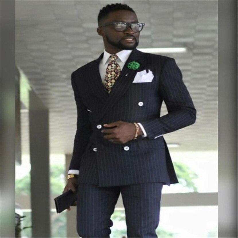 Latest Coat Pant Designs Black Double Breasted Stripe Men Suit Slim Fit 2 Piece Tuxedo Custom Groom Prom Blazer Masculino