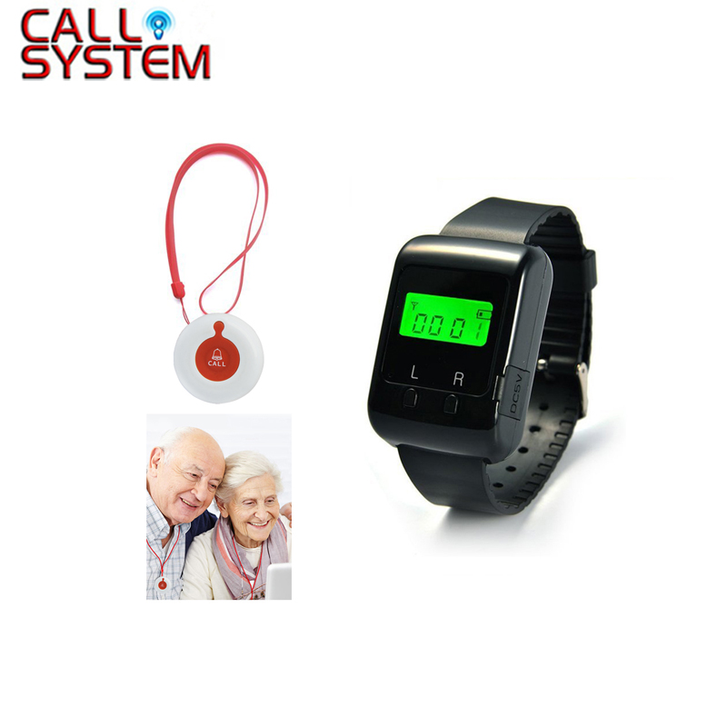 Caregiver Pager Wireless Nurse Calling System Emergency Caller for Elder Patient Pendant Nursing Home 1 wrist pager 1 button singcall wireless calling system patient alarm system emergency sound and light alarm small caregiver receiver with two buttons
