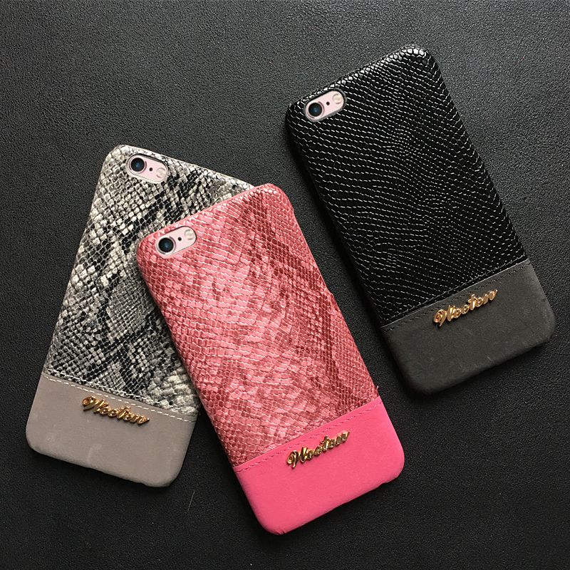 PU Leather Snake Skin Phone Case For iPhone 11 Pro 6s 6 7 8 Plus X XS Max XR Protection Case Shockproof Hard Back PC Cover Case in Half wrapped Cases from Cellphones Telecommunications