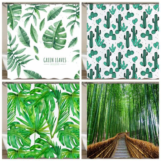 Curtains For Bathroom Tropical Shower Curtain Polyester Fabric Waterproof Green Products Cortinas Leaves