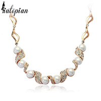 Italina R A Elegant Wedding Necklace With Simulated Pearl For Woman Party Jewelry Gift For Lover