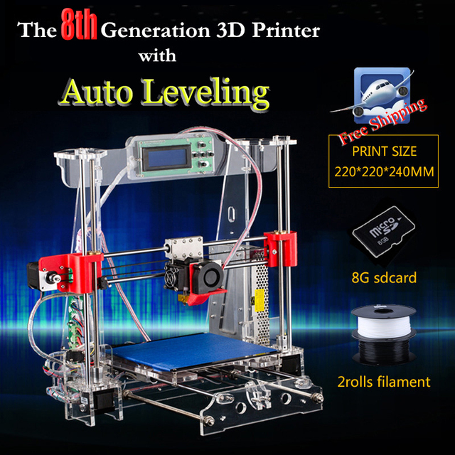 The 8th Generation auto leveling Prusa i3 3d Printer DIY kit P802MA High Precision Reprap Big print size 220*220*240mm more gift