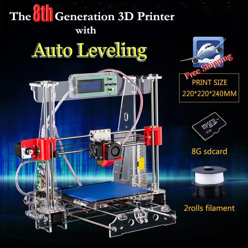 The 8th Generation auto leveling Prusa i3 3d font b Printer b font DIY kit P802MA