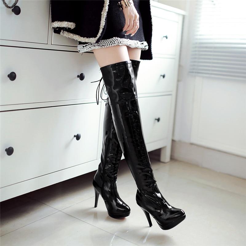 rouge forme Chaussures blanc Noir Cuir Overknee Genou Hauts Femmes Lacets Chevalier Ymechic Blanc Plate Talons À En Noir Bottes Sur Brevet D'équitation Rouge Le Nnwv0m8