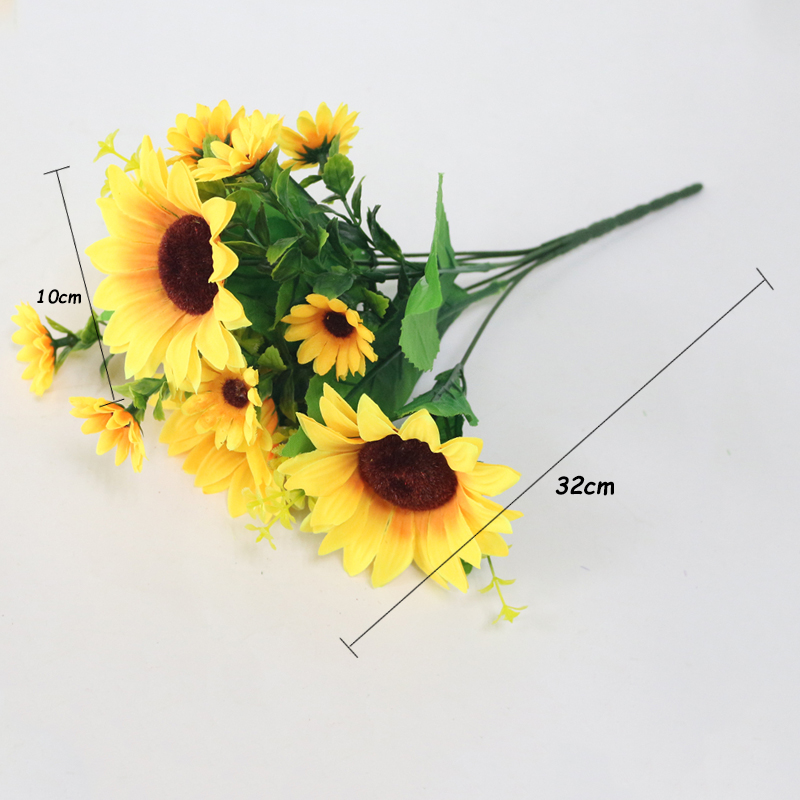JAROWN Simulation Sunflower Bouquet Artificial Silk Fake Flowers For Home Office Tabletop Decor Wedding Decorations (10)