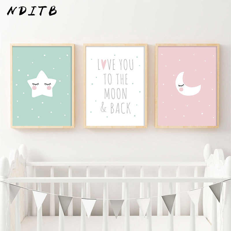 NDITB Cartoon Moon Star Canvas Art Posters Nursery Prints Painting Wall Picture Baby Room Decoration Love You The Moon and Back
