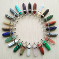 Wholesale 24pcs/lot  2016 high quality assorted natural stone mixed bullet shape charms chakra pendants fit necklace making free