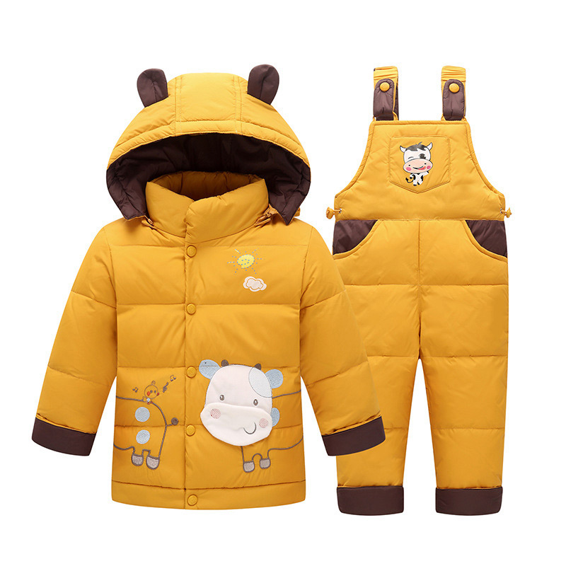Kids Clothes Baby Boys Girls Winter Down Coat Children Warm Jackets Dinosaure Toddler Snowsuit Outerwear Coat+Pant Clothing Set kids snowsuit clothes winter down jackets for girls boy children warm jacket toddler outerwear coat pant set deer print clothing