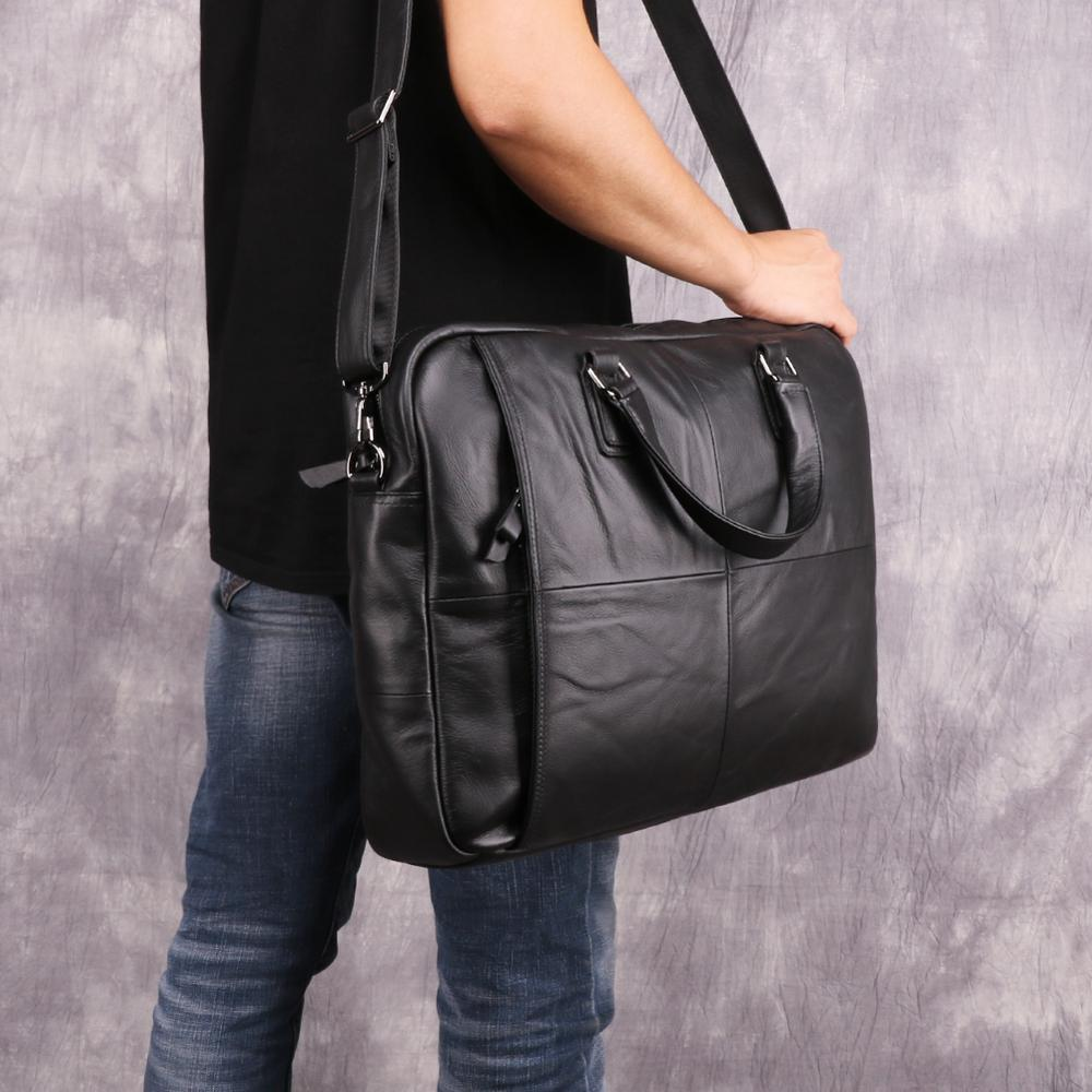 Free ship Men Briefcases Lawyer Genuine Leather Handbag Vintage Laptop Briefcase Messenger Bags Casual Men's Bag For Documents