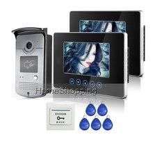 FREE SHIPPING 2 Touch Sensor Monitors 7 inch Video Door Phone Intercom Doorbell System RFID Card Door Camera IN STOCK Wholesale