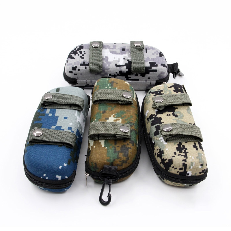 Portable Sunglasses Box Storage Protector Camouflage Tactical Molle Sun Goggle Glasses EVA Bag Case Outdoor EDC With Hook
